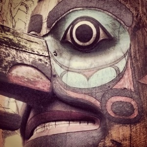 This Tlingit totem pole stands in Pioneer Square.
